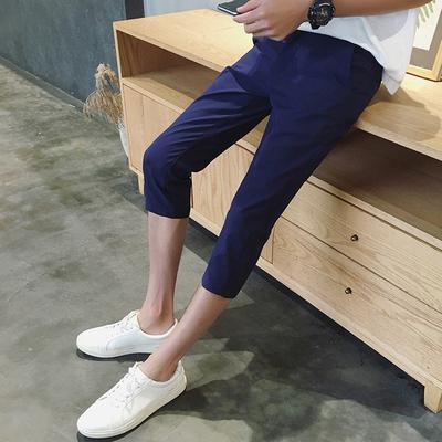 Mùa hè quần short nam Hàn Quốc phiên bản của bảy điểm quần phần mỏng Slim 7 điểm quần âu nam quần mùa hè quần xu hướng Quần