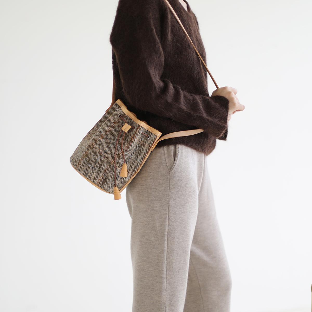 JOYDIVISION harris tweed  手工水桶包  单肩复古包包女士
