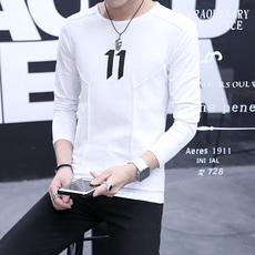 新款男士长袖t恤v领修身打底衫潮流春装韩版卫衣男装秋装732#