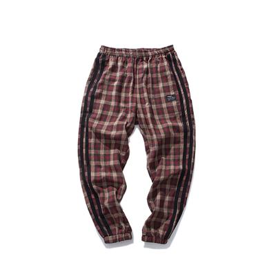Reluctant studio Chinism retro phong cách loose chùm quần kẻ sọc side đen strip feet quần âu nam