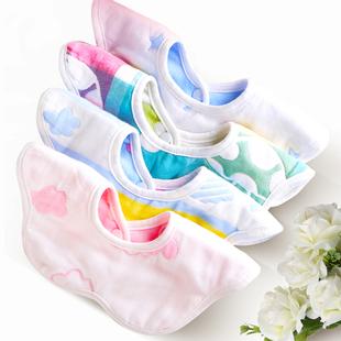 婴儿口水巾围嘴双层纯棉纱布宝宝围兜