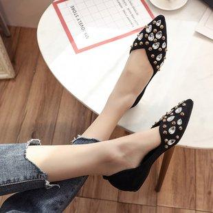 百搭水钻绒面淑女鞋子平底鞋