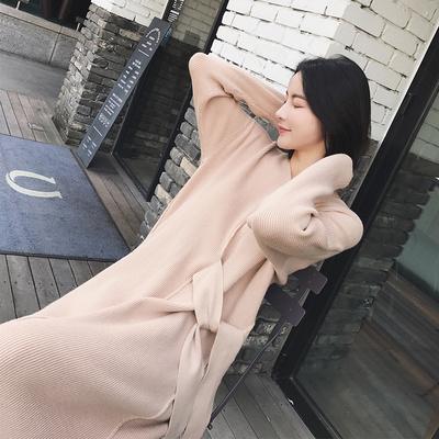 【反季4.9折】【13C】V领收腰毛衣连衣裙FL29