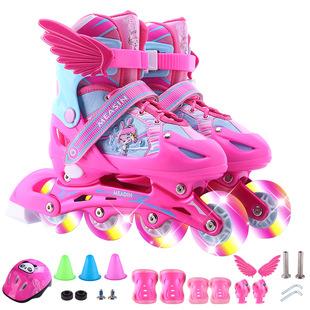 瑞士初学者儿童溜冰鞋八轮全闪套装