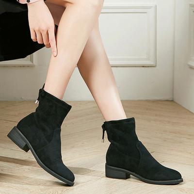 卓诗尼短靴女粗跟单靴时装靴低跟英伦系带中跟布里女靴