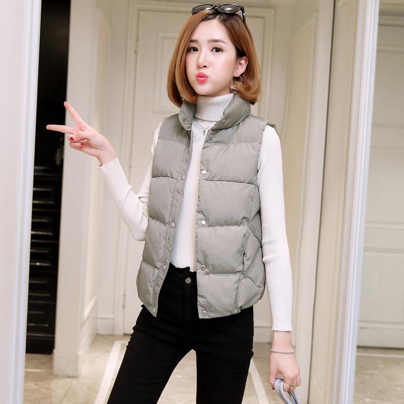 2017冬装新款韩版潮修身显瘦马夹外套单排扣时尚立领棉马甲女短款