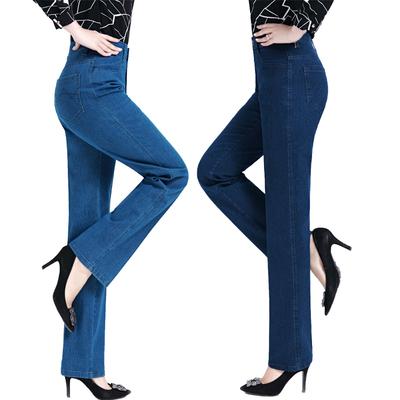 Mùa xuân và mùa thu mô hình trung niên mẹ jeans phụ nữ cao eo trung niên kích thước lớn loose stretch công cụ làm việc quần thẳng Quần áo của mẹ