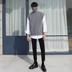MRCYC Hàn Quốc phiên bản của cao cổ áo đan áo len nam lỏng đầu hoang dã side chia ngã ba trở lại twist dệt vest