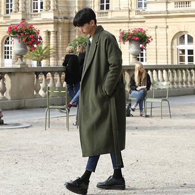 Nhật bản áo gió nam dài phần dày ấm áo ấm nam thủy triều của nam giới lỏng áo len len Hàn Quốc phiên bản Áo len