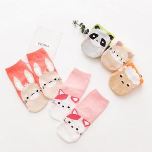 秋冬季儿童可爱卡通纯棉中筒袜五双