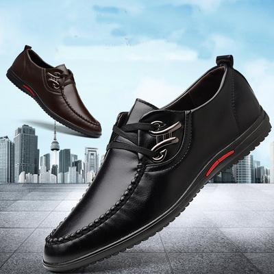 2019男鞋夏季大码皮鞋男新款商务正装休闲男士韩版英伦透气黑鞋子