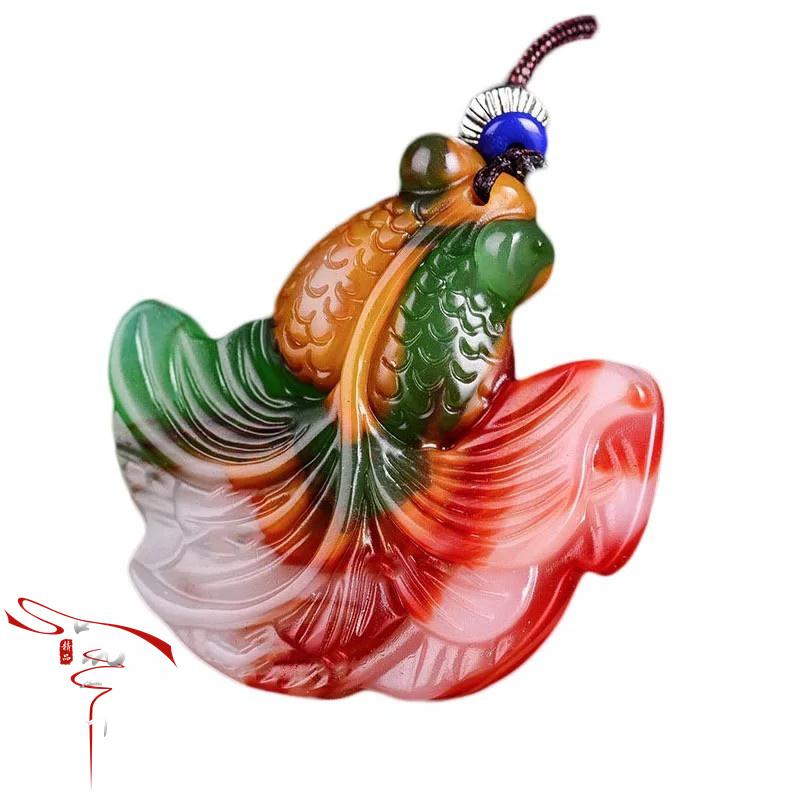 Ming và Qing triều đại cá vàng mặt dây chuyền cao cổ ngọc bích miếng gà máu ngọc bích đỏ đá ngọc trắng ngọc cổ ngọc bích ngọc bích mặt dây chuyền