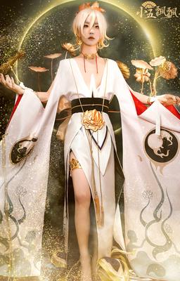 taobao agent Xiaowu Piaopiao Onmyoji Emperor Shitian cos Ashura cosplay suit Lotus Earrings Wig Props Spot