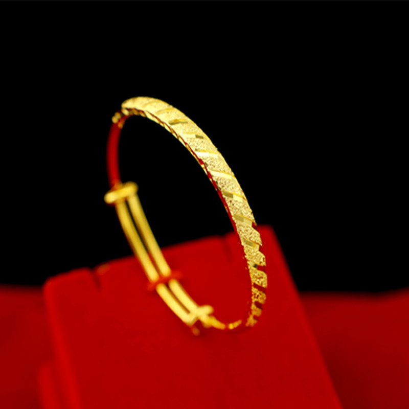 新款流行18K黄金手镯女款 实心不掉色送朋友闺蜜妈妈婆婆结婚礼物