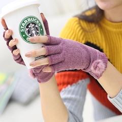 韩版春秋冬季薄款女款半指棉手套冬天露指貂毛球学生可爱保暖黑色