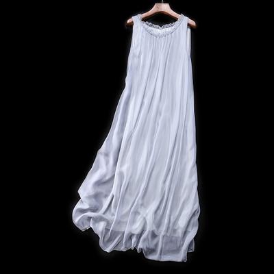 LT03751 Tahara ~ đặc biệt người đàn ông thanh lịch của quần áo bí ẩn màu xám dài lụa đầm voan ~