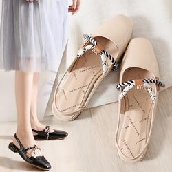 小CK女鞋2018新款包头凉鞋女夏平底chic绳结仙女的鞋子玛丽珍单鞋