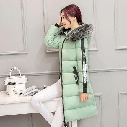 2018冬装新款韩版中长款羽绒棉衣女修身显瘦大毛领棉服外套潮175