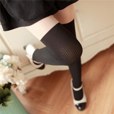 春秋中厚竖条拼接打底袜日系长筒丝袜子女防勾丝显瘦假高筒连裤袜