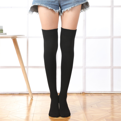 简约纯色过膝袜春秋全棉长筒袜日系学生大腿袜显瘦半截高筒袜美腿