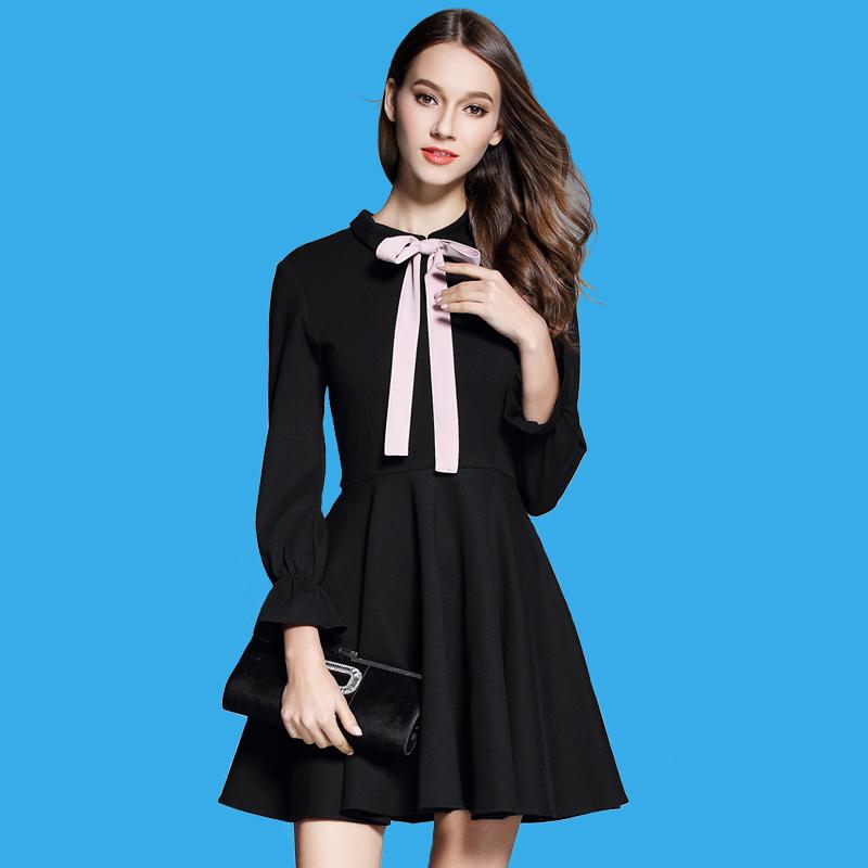 高腰复古赫本小黑裙连衣裙长袖打底裙
