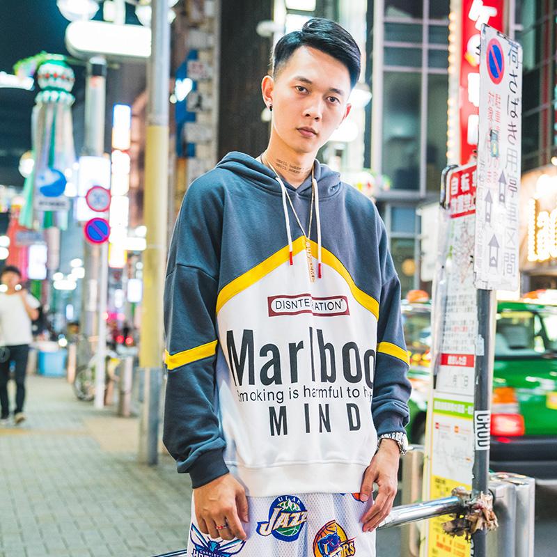 ins超火的情侣卫衣秋季2018新款嘻哈宽松潮流韩版嘻哈街头风帽衫