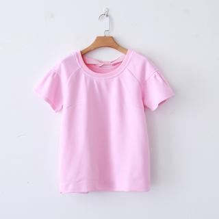 Весна новый сезон свободный свитер женский tee назад бант короткий рукав твердый T футболки женщины цена капусты