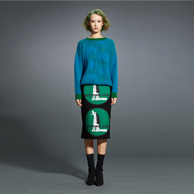SUNGDO GIN original independent designer grandma green and blue high-energy collision color sweater pure wool sweater