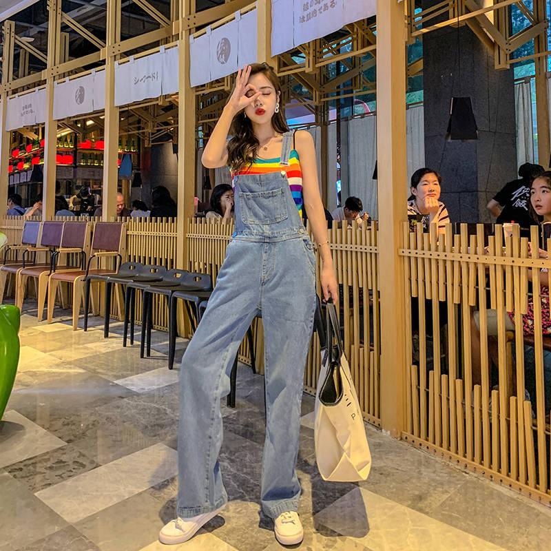 网红张贝贝同款2019夏季新款韩版宽松减龄高腰阔腿牛仔裤背带裤女