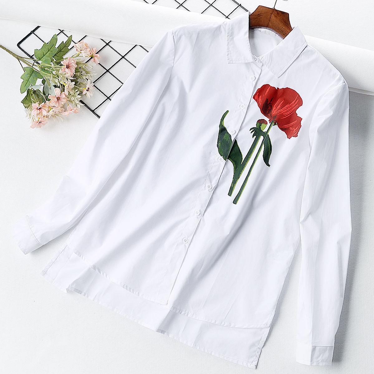 U14 Hàn Quốc đơn ngực ve áo lỏng màu rắn in áo sơ mi dài tay đơn giản hoang dã áo sơ mi cơ bản thủy triều