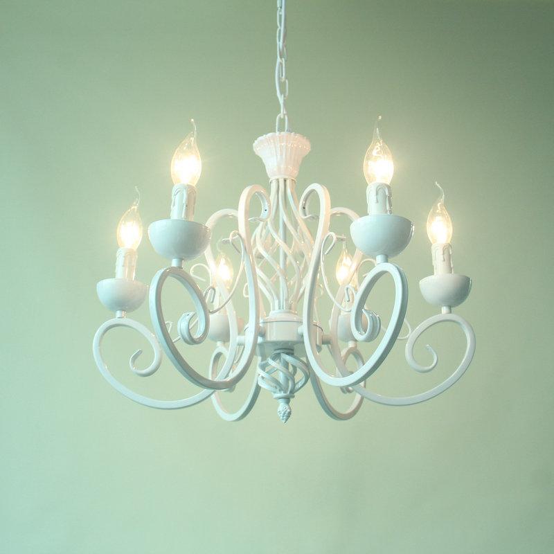 欧式简约白色吊灯少女公主灯卧室灯粉色田园灯饰地中海铁艺蜡烛灯