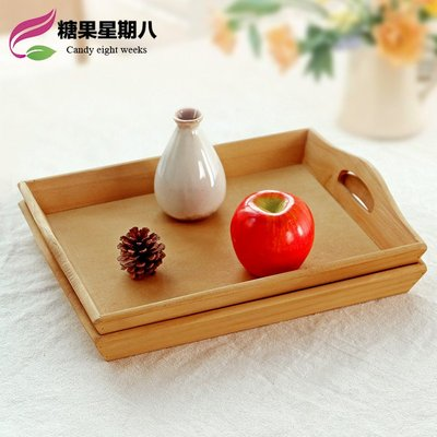木质提手托盘桌面化妆品收纳盒客厅茶盘复古木盘饭店上菜盘子平盘