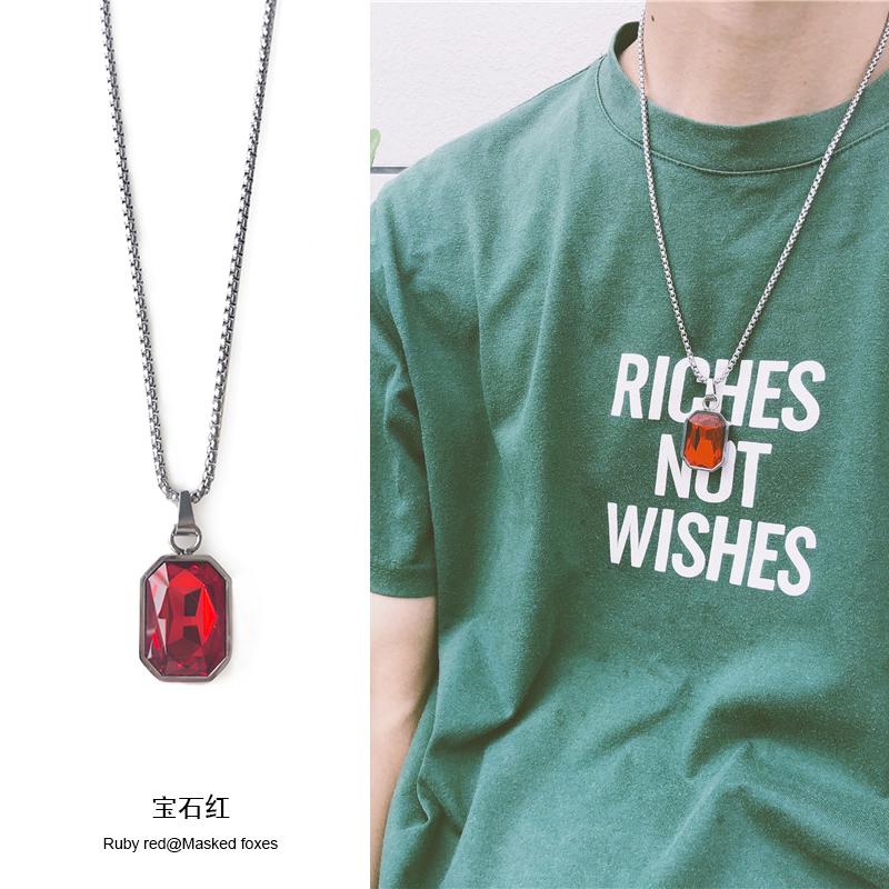潮牌百搭宝石项链情侣配链ins主播同款红宝石链子学生情人节礼物