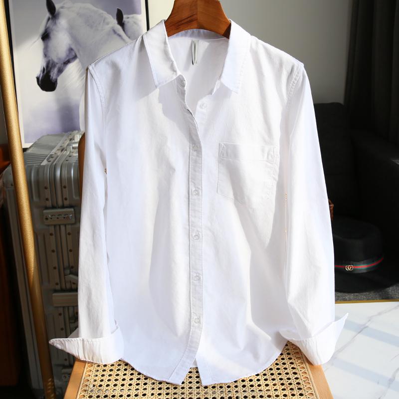 纯棉白色衬衫女长袖内搭打底衫春秋