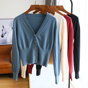 針織開衫外套女長袖薄款毛衣短款秋裝