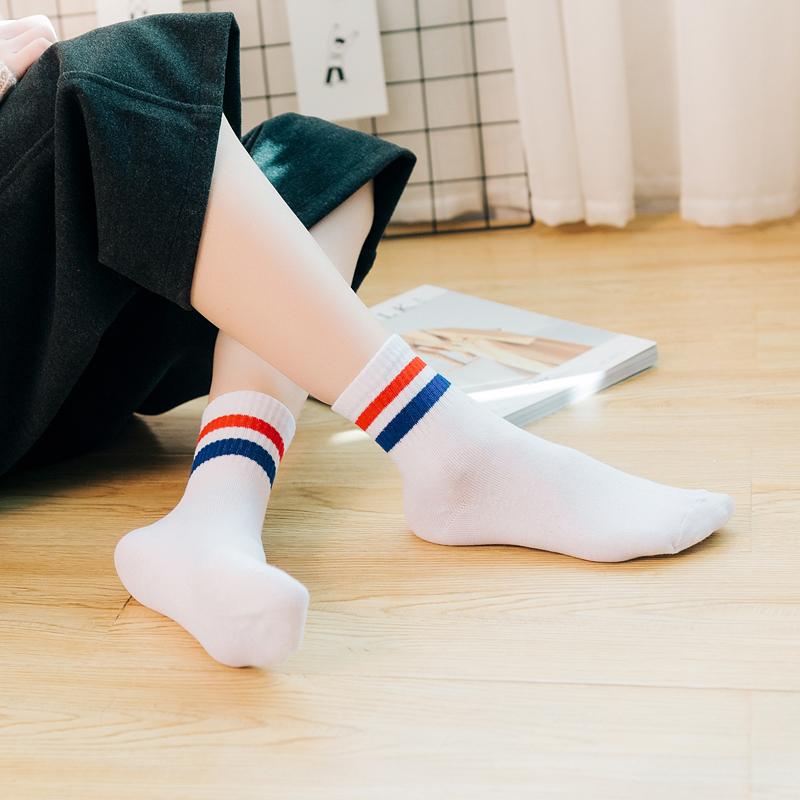 2018秋冬季新款韩版二杆条纹中筒袜子运动休闲棒球女士袜纯棉袜子