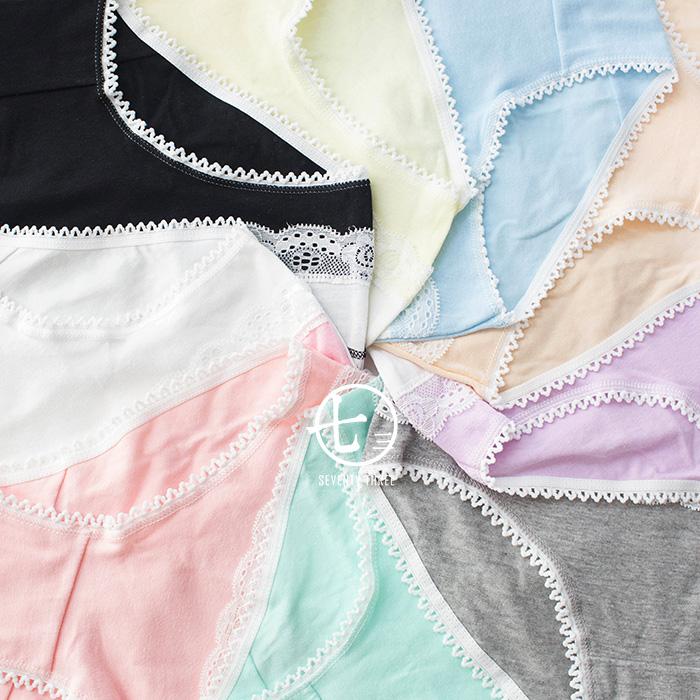 Nhật kẹo màu đồ lót cotton cô gái thoải mái rắn màu sinh viên chất béo dễ thương sexy ren side eo quần short