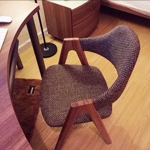 实木餐椅软包创意布艺单人靠背椅电脑椅家用小办公椅北欧椅子特价