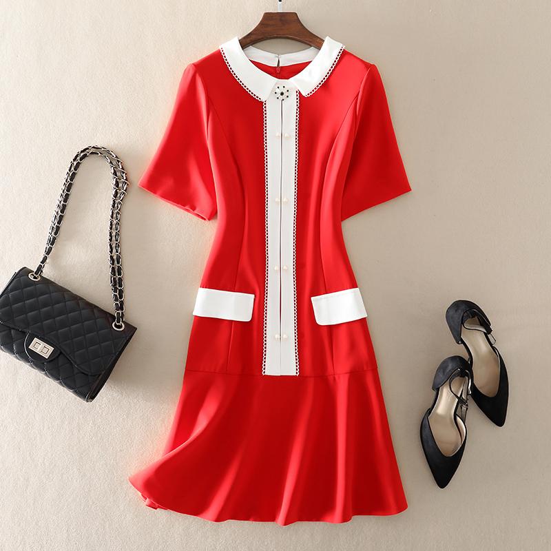 Đầm dự tiệc nữ thần mùa hè 2020 mùa hè mới của phụ nữ váy đỏ đỏ rỗng màu tương phản khâu đính cườm - váy đầm