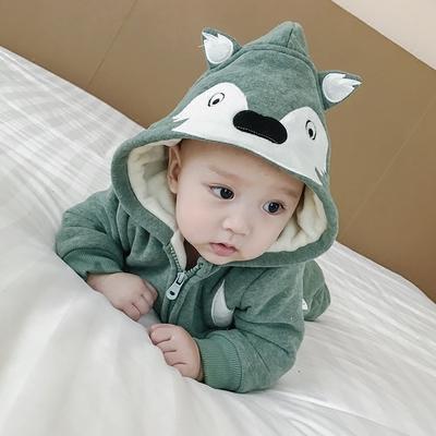 宝宝套装冬装女0一1岁婴幼儿衣服加绒卫衣两件套婴儿加厚保暖棉衣