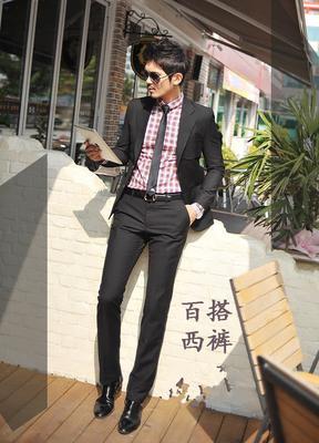Mùa xuân của nam giới quần chú rể Hàn Quốc phiên bản của tự kinh doanh mặc quần áo phù rể kết hôn chân phù hợp với quần mùa hè làm việc mỏng mặc Suit phù hợp