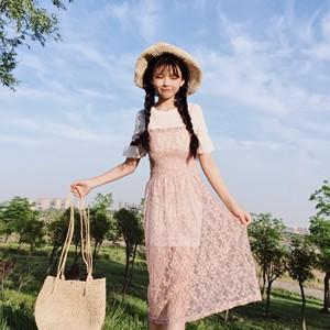 9513   小清新甜美仙女蕾丝星星吊带裙+喇叭袖打底T恤两件套