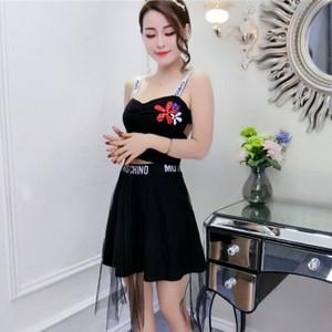 9210#实拍夜店新款套装短裙公主吊带v贴花领刺绣上衣+网纱蓬蓬裙