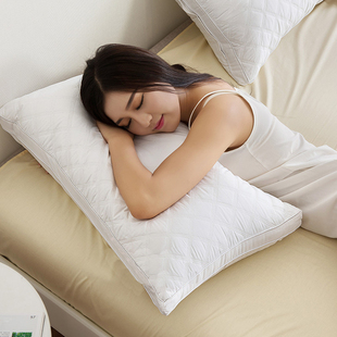 全棉绗缝立体羽丝绒枕芯护颈椎枕