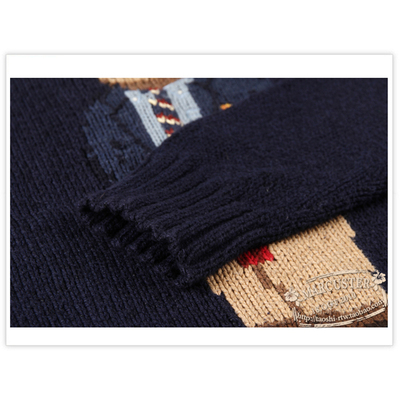 RTW Men cha mẹ-con hoạt hình động vật gấu mẫu cổ tròn áo len áo len cotton giản dị RTMM43006 - Áo len