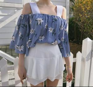 2018夏秋  度假风 性感少女两穿式一字肩露肩半袖衬衣6673