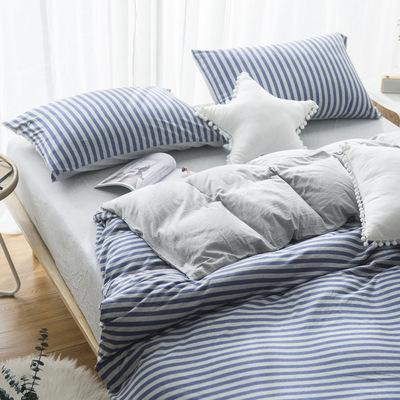 特价新疆天竺棉纯棉裸睡条纹四件套 全棉床笠床单针织棉日系套件
