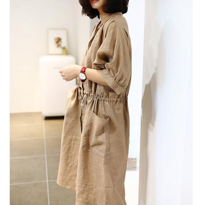 Viney nhà của phụ nữ tính khí hai mặc trắng lanh lỏng ăn mặc một ngực thiết kế được khuyến khích mạnh mẽ váy đầm