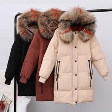 实拍真羽绒2018冬季新款羽绒服女中长款韩国韩版时尚修身大毛领潮