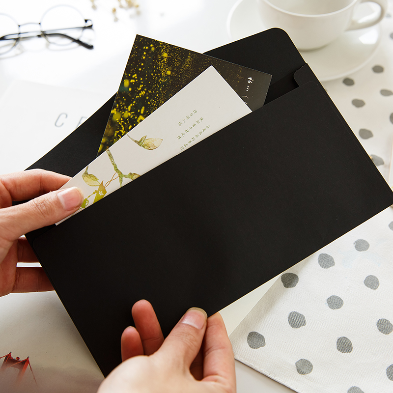 横版简约牛皮纸古风信纸信封 定制小清新7号贺卡照片空白收纳信封
